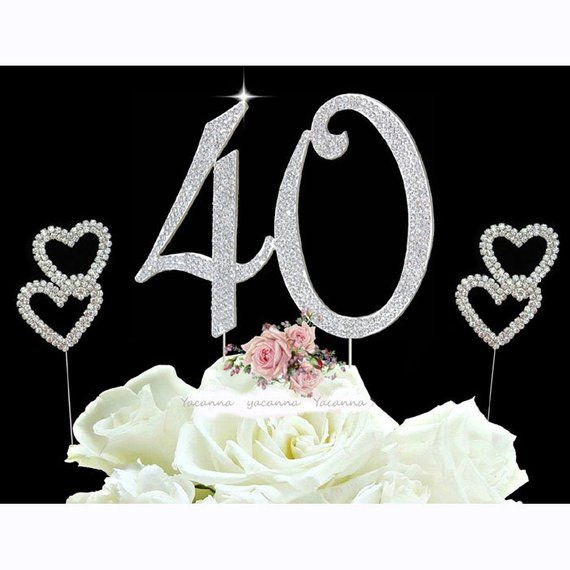 40th Birthday Cake Toppers Silver Diamante Bling Topper 40 And 2 Hearts Picks
