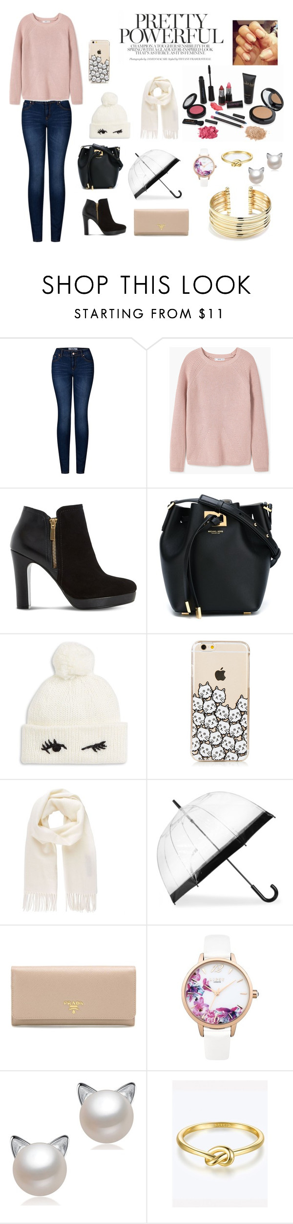 """Untitled #49"" by stylebyelisa ❤ liked on Polyvore featuring 2LUV, MANGO, Dune, Michael Kors, Kate Spade, Vivienne Westwood, Prada, Lipsy and Belk Silverworks"