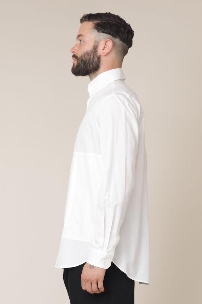 ce42d8749f7 Yohji Yamamoto Collar Shirt with Side Pocket (Off-White)