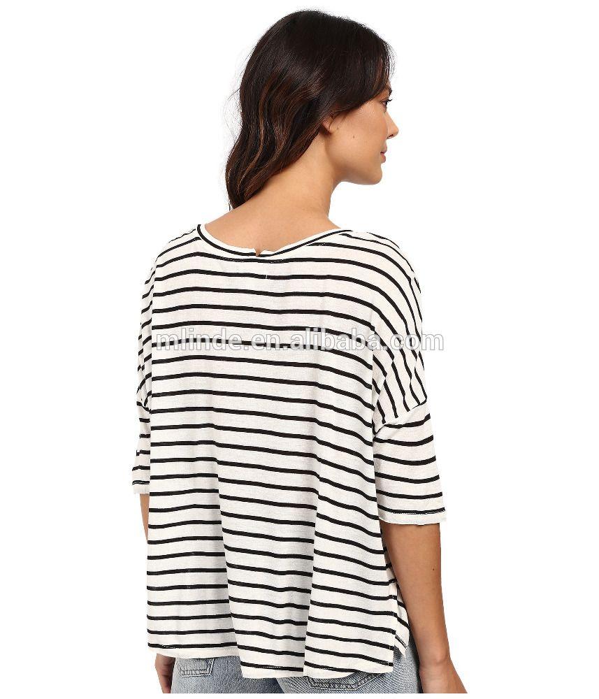 88c0d795 Custom Tee Shirts Women Three-quarter Sleeves Rayon Linen Blend Crew Neck  Loose Boxy Pullover