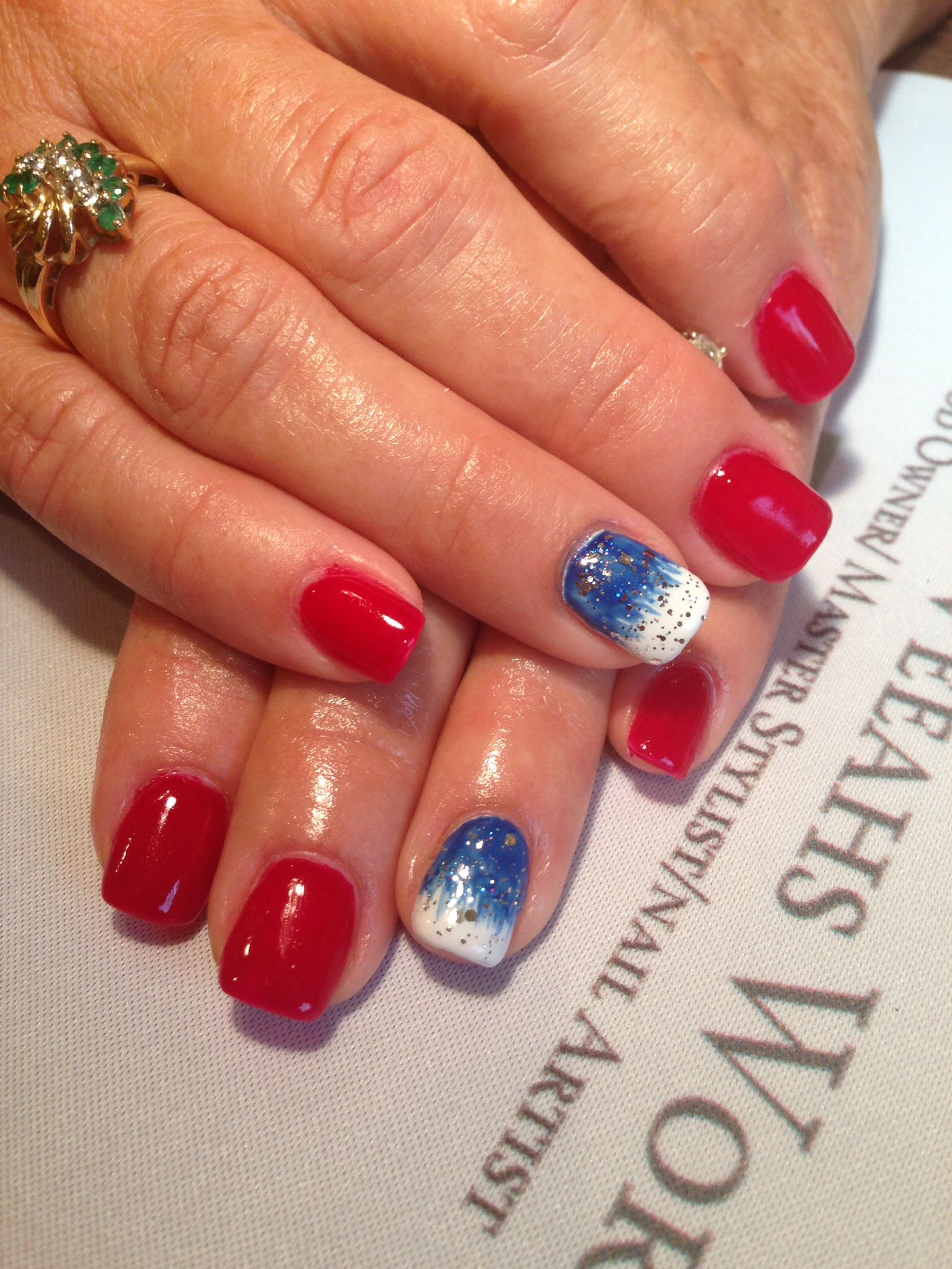 Red white and blue by Veeah #gelish