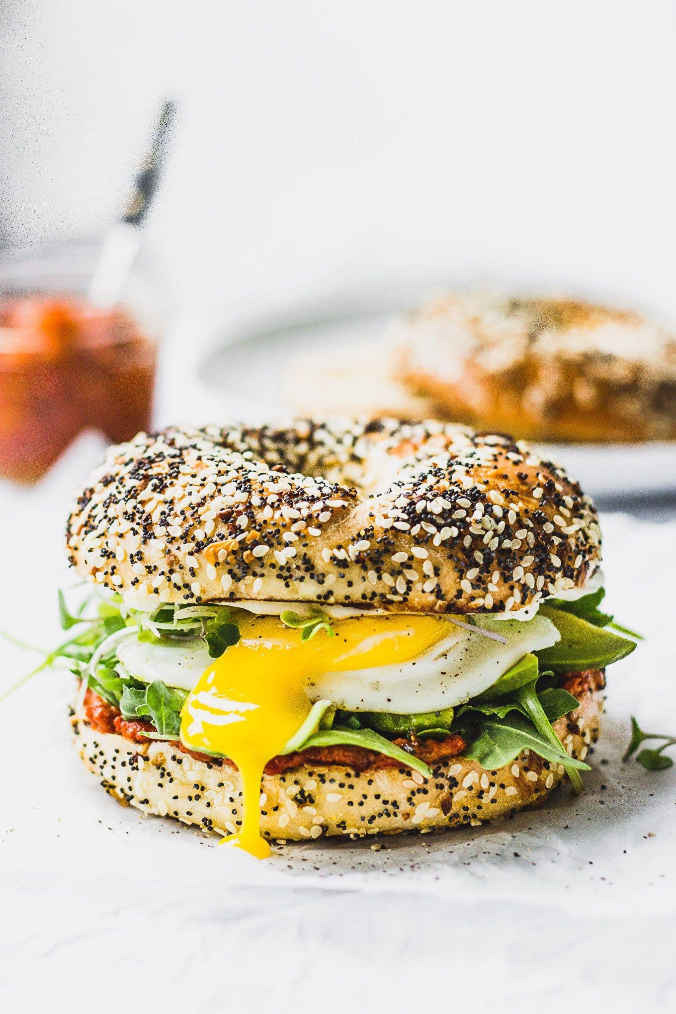 Romesco Breakfast Bagel Sandwich
