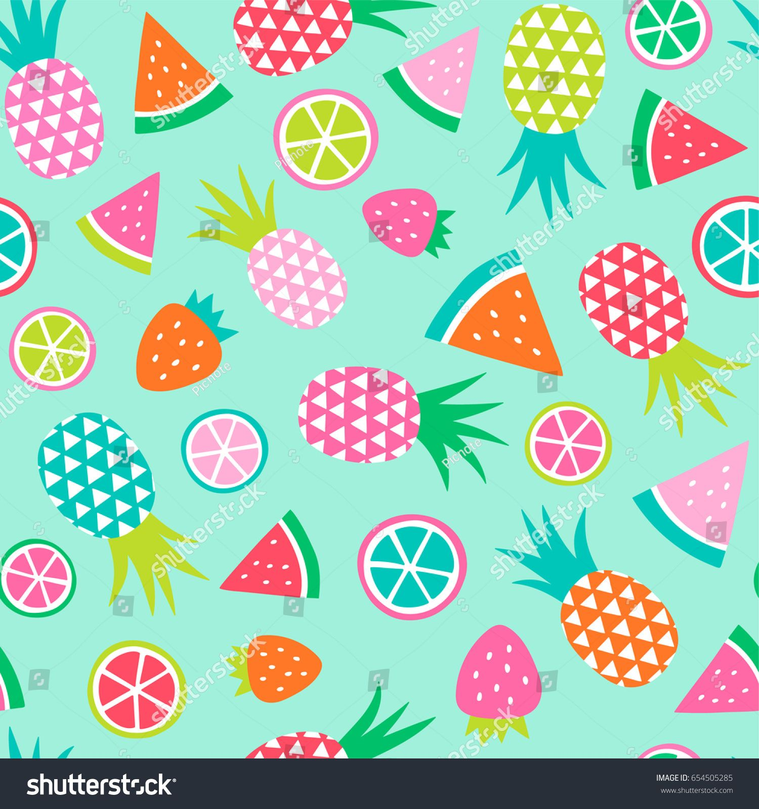 Colorful Hand Drawn Tropical Fruit Seamless Pattern Background How To Draw Hands Fruit Color
