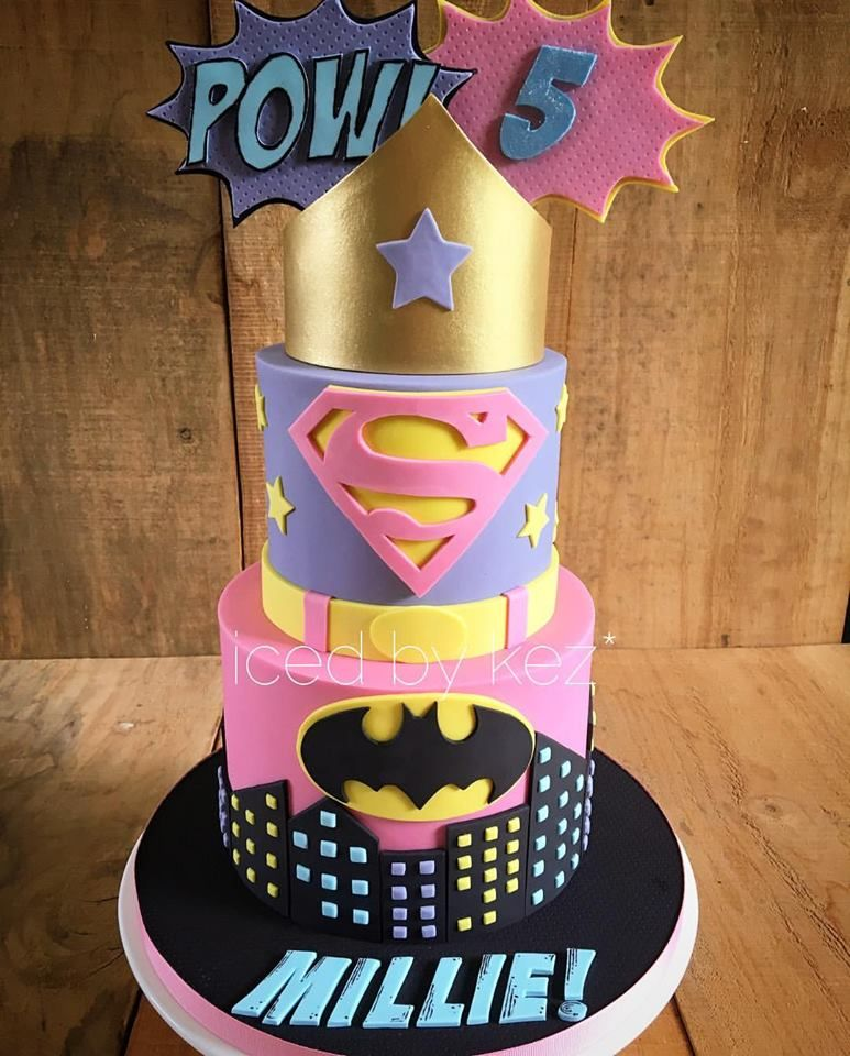 Cute Superhero Birthday Cake Superhero Cake Girl Superhero Cake