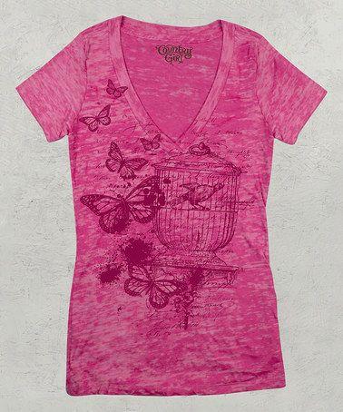 Look what I found on #zulily! Shocking Pink Birdcage Short-Sleeve Tee #zulilyfinds