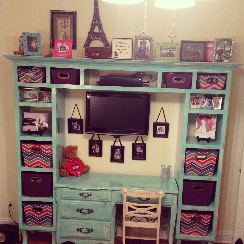 Distressed bookcase and desk! | Bookcase diy, Bookcase ...
