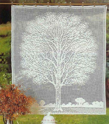 Схема вязания крючком филейной занавески  Дерево в окне #filetcrochet