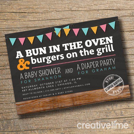 S Baby Shower Invitation Co Ed Invite Diaper Party Bun In The Oven Bbq Sh
