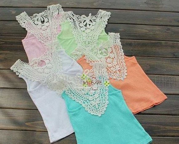 Crochet lace tank tops this is what the back looks like super light and comfortable sizes 3-8 in pink, mint, or blue! $12 each