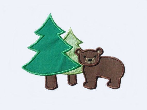 Forest bear applique design machine embroidery design instant