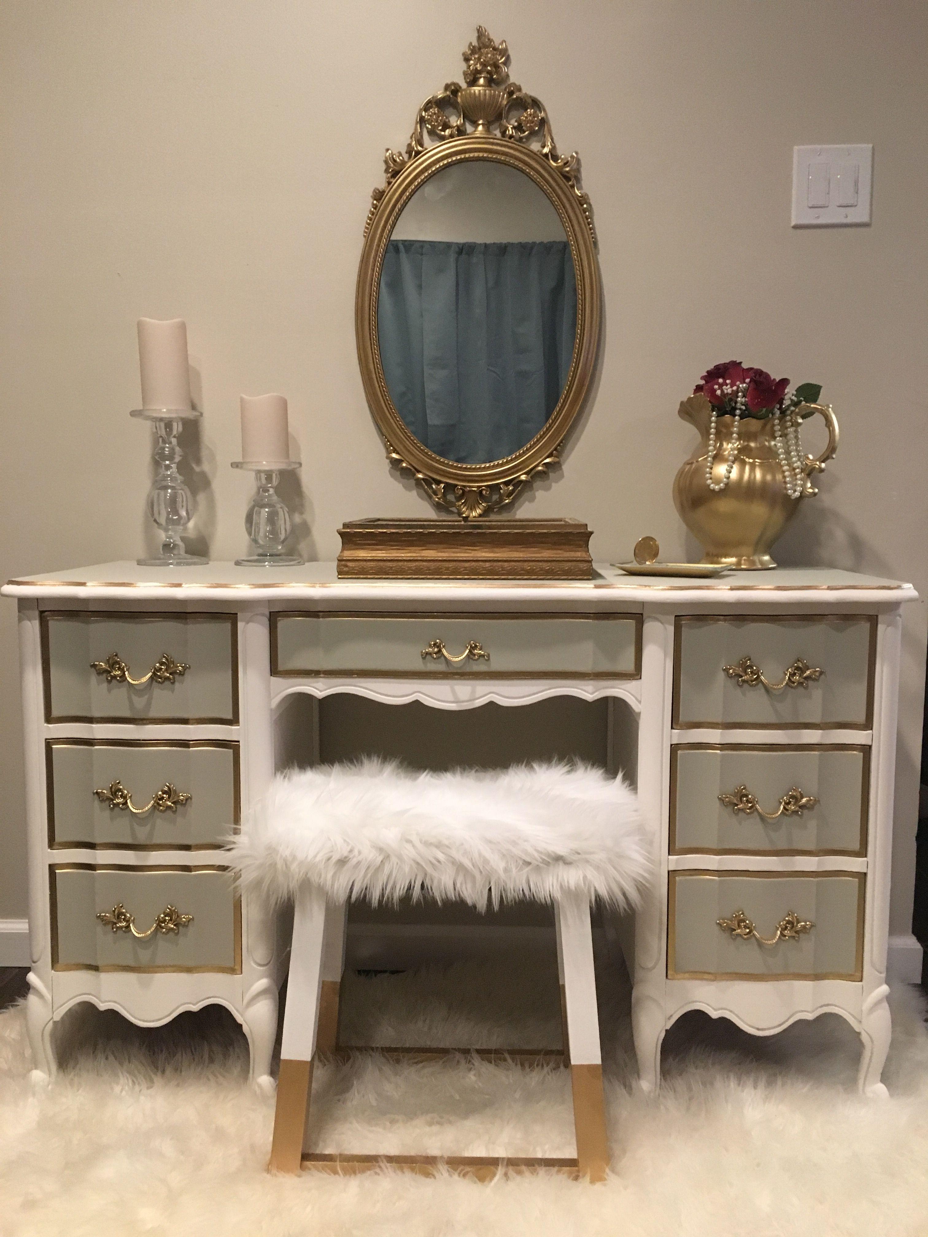 French Provincial Desk In White Gray Gold Vintage French Desk Rustic Furniture Diy Gold Furniture