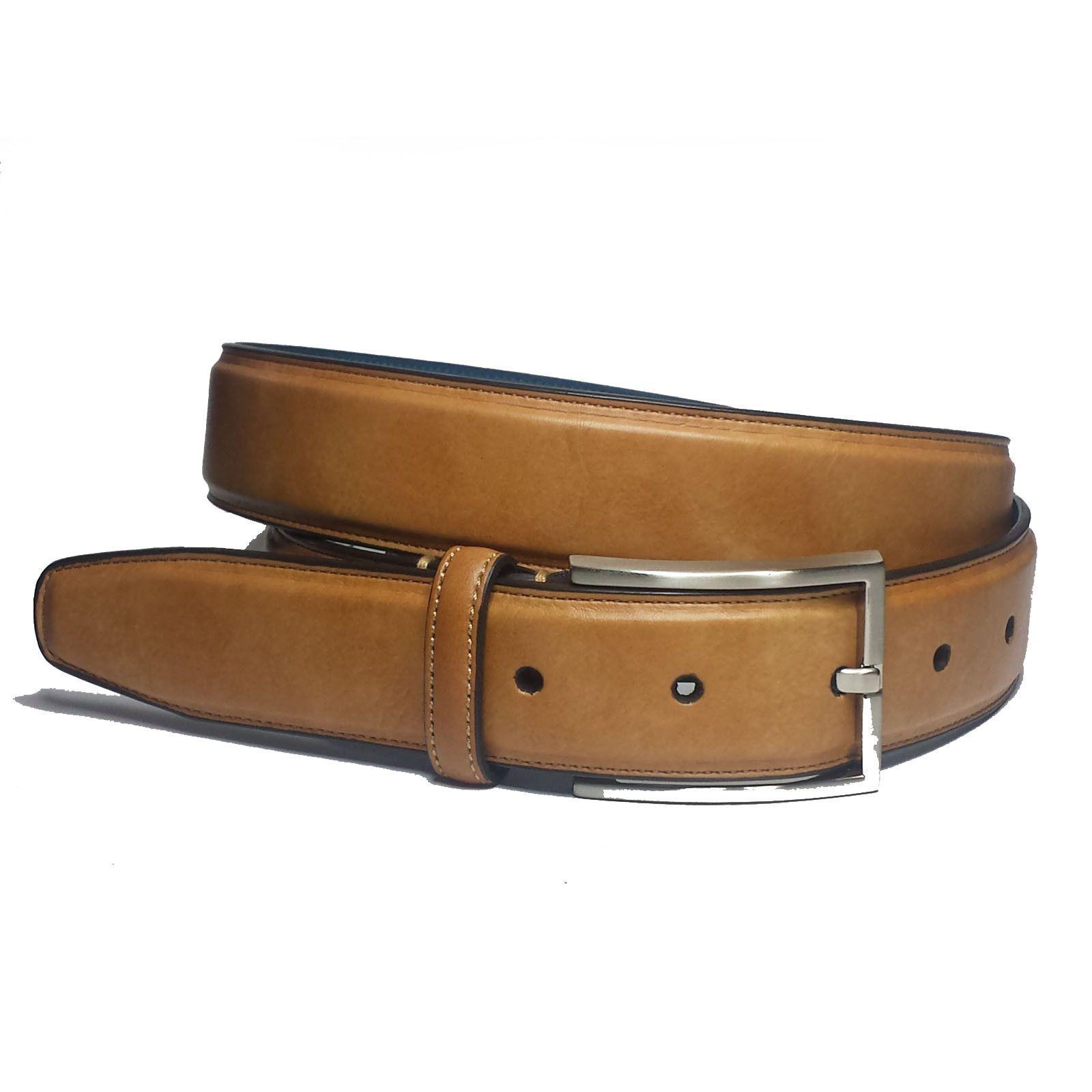 Affilare Men/'s Genuine Italian Leather Dress Belt Black Brown Reversible 12RB562