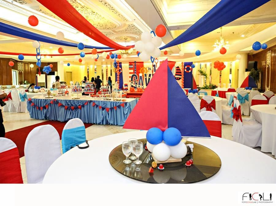 Huge nautical theme birthday party featured party for Anchor decoration party
