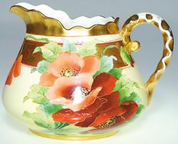 Pickard China pitcher having colorful poppy decoration, done by Joseph ...
