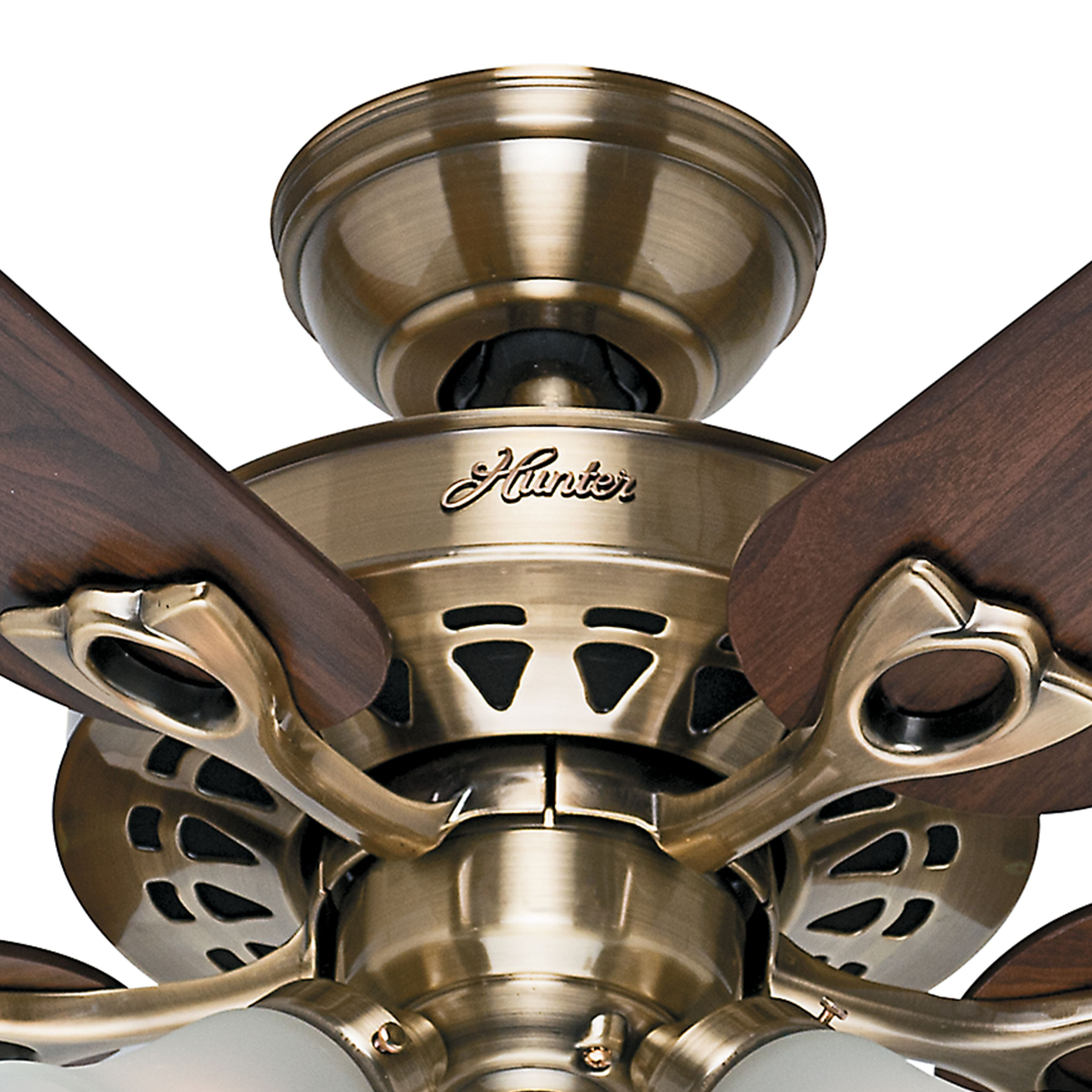 Hunter 52 inch antique brass finish ceiling fan with reversible hunter 52 inch antique brass finish ceiling fan with reversible dark fan blades remote control included hunter 53115 aloadofball Images
