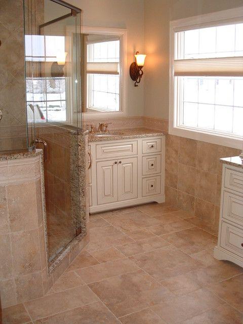 Houzz Com Half Wall Shower Trim Matches Vanity Top Tile Flooring Up The Wall No Baseboards Bathroom Interior Design Traditional Bathroom Bathroom Interior