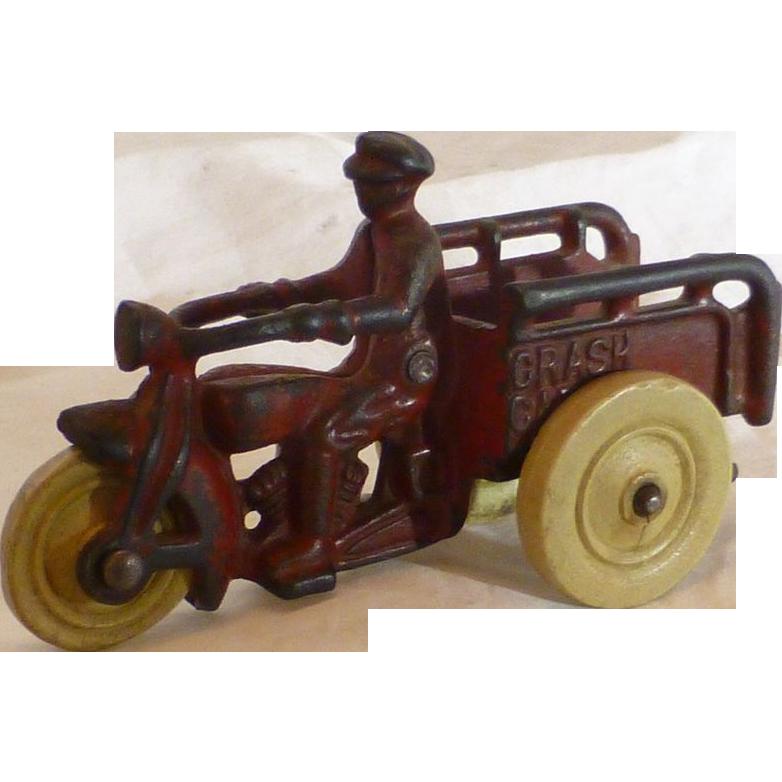 Hubley 1920's Motorcycle Toy, Harley Davidson Crash Car, Cast Iron