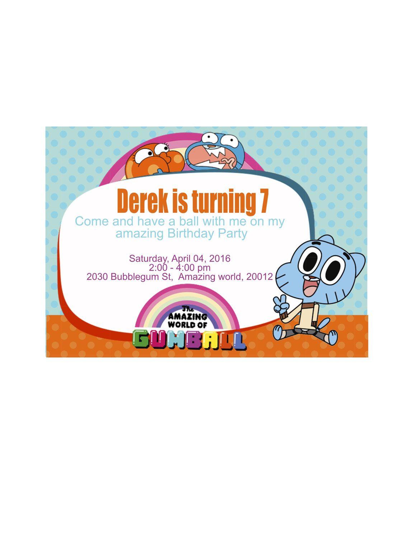 Gumball Invitation | The Amazing World of Gumball Invitation ...