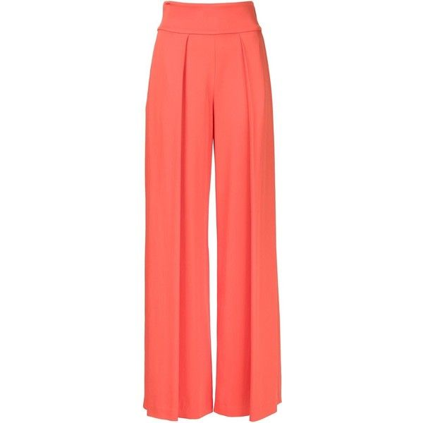 Nicole Miller palazzo trousers ($425) ❤ liked on Polyvore featuring pants, pantaloni, nicole miller, red trousers, palazzo pants, orange pants and nicole miller pants