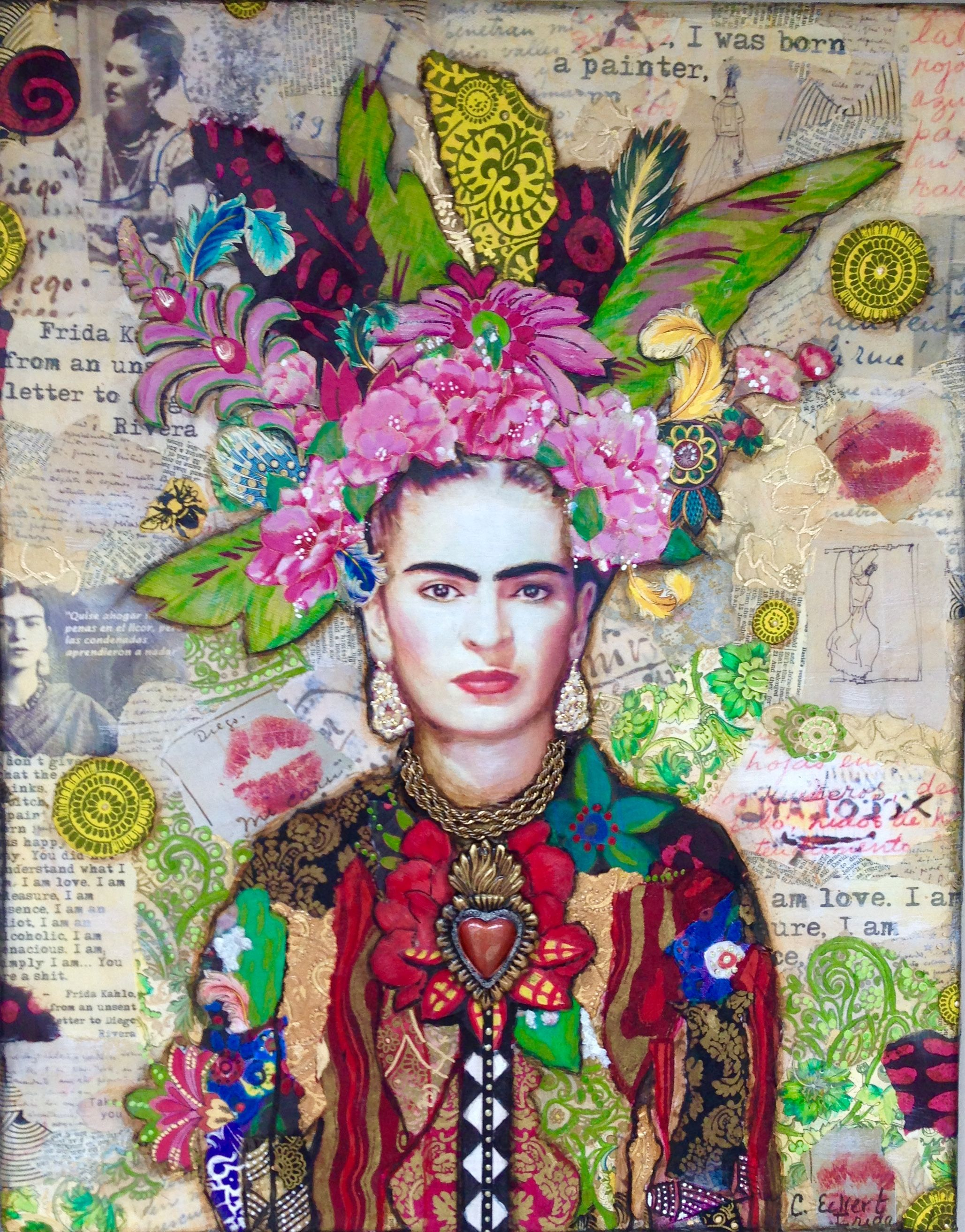 frida kahlo collage art painting by carrie eckert frida pinterest collage art frida kahlo. Black Bedroom Furniture Sets. Home Design Ideas