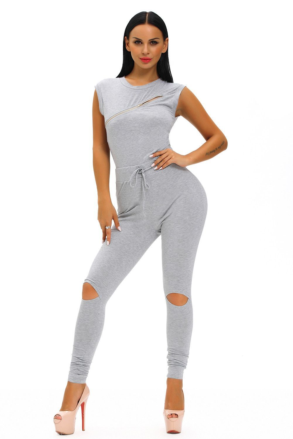 Chasubles & Grenouilleres Creative Zip Line Gris Stretchy Jumpsuit Pas Cher www.modebuy.com @Modebuy #Modebuy #Gris #me #sexy #ilovemyfollowersfashion