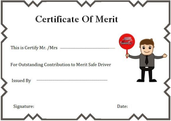 Safe Driver Certificate Of Merit  Safe Driving Certificate