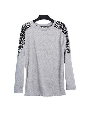 Batwing Long Sleeved CrewNeck Leopard Top