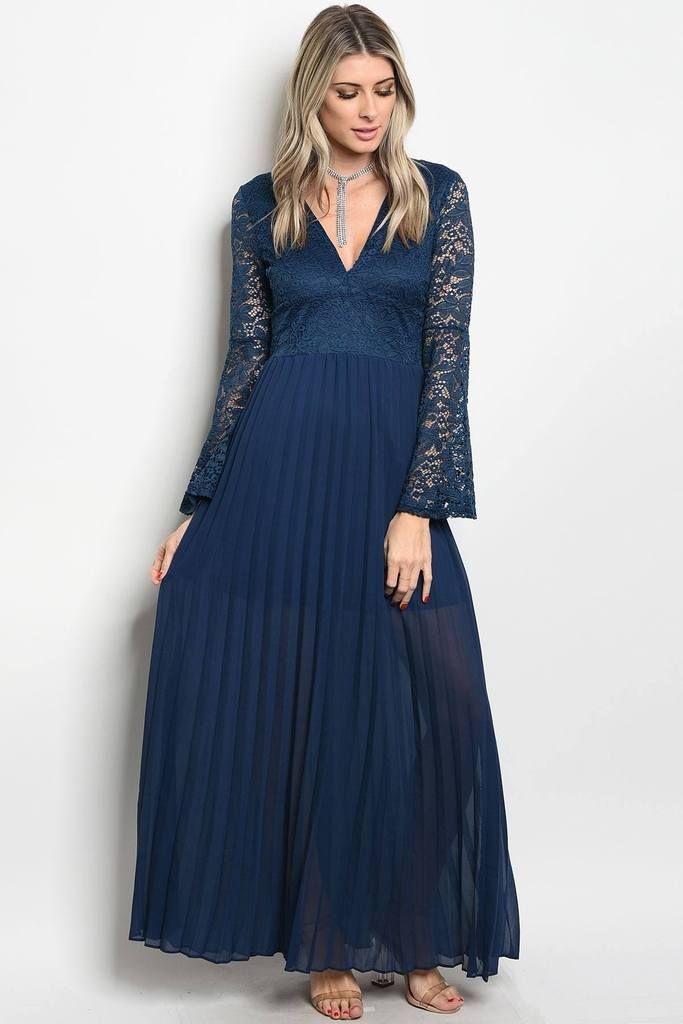 Ladies fashion long sleeve lace full length gown that features a v ...
