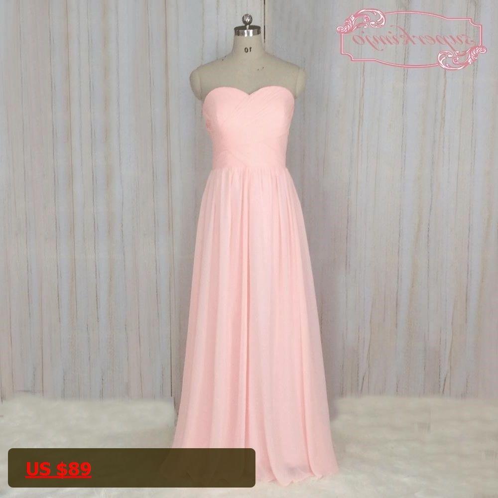 Superkimjo pale pink bridesmaid dresses long chiffon cheap simple