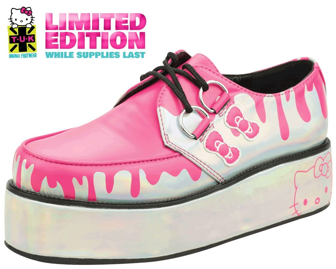 28eb2aac863c6 Iridescent with pink drip vegan creeper on iridescent wrapped sole ...