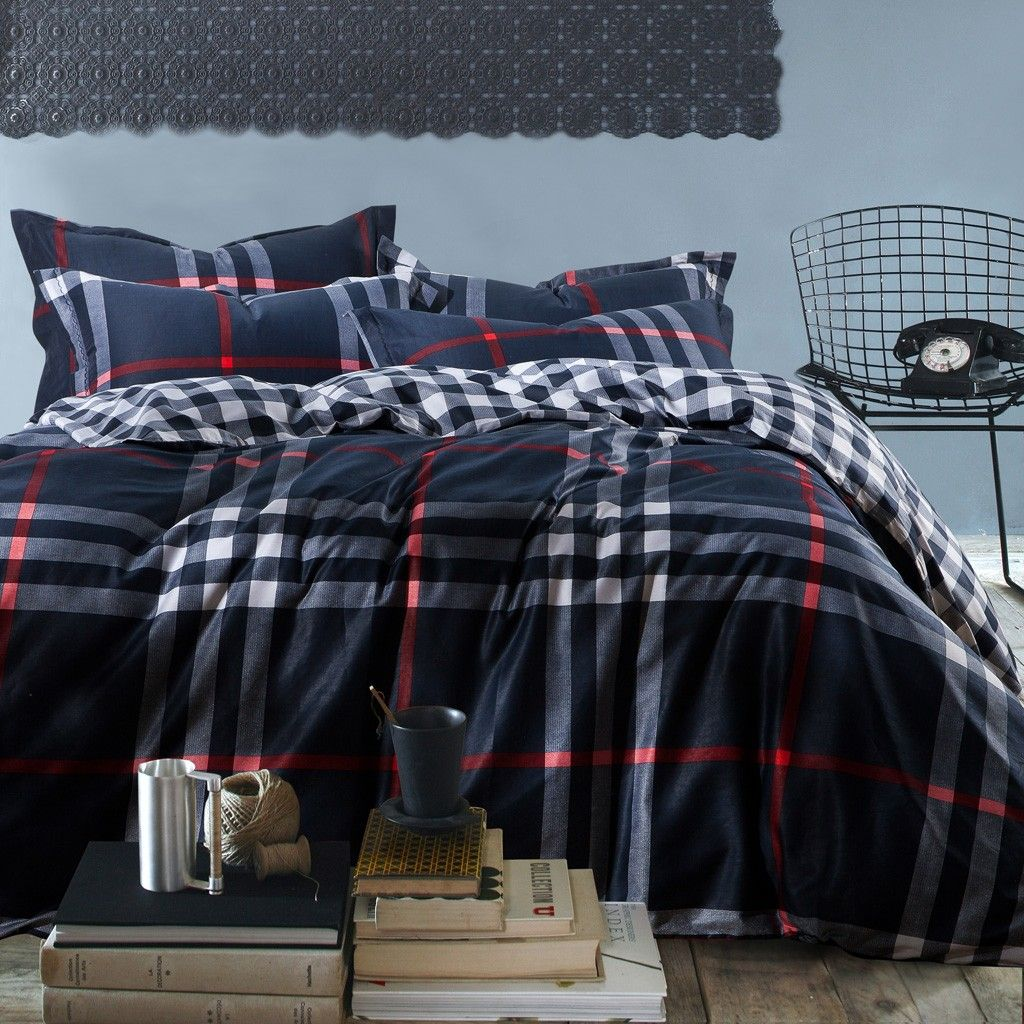 Bed sheet patterns men - Navy Red Plaid Pattern Comforter Sets King Size With Blue Sky Bedroom Wall Idea And
