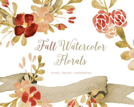 Fall Clipart Watercolor Flowers And Wreaths Including Banner By ByLef