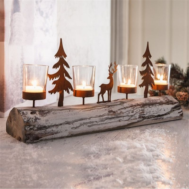 Wood Vintage Christmas Tree Small Deer Candleholders Bar Shop