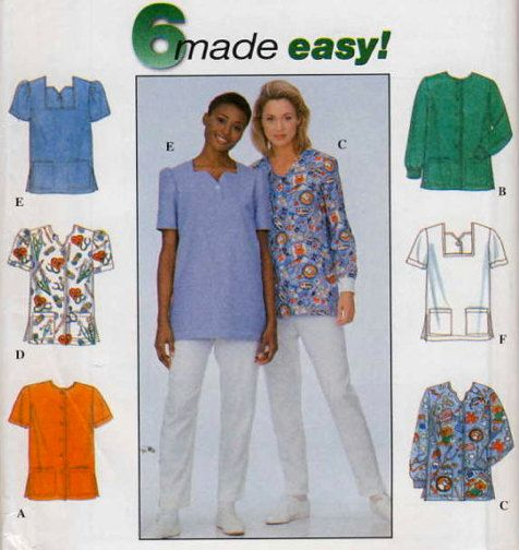 PLUS SIZE SCRUBS Sewing Pattern Six Easy Medical Scrub Tops Unique Scrub Top Patterns