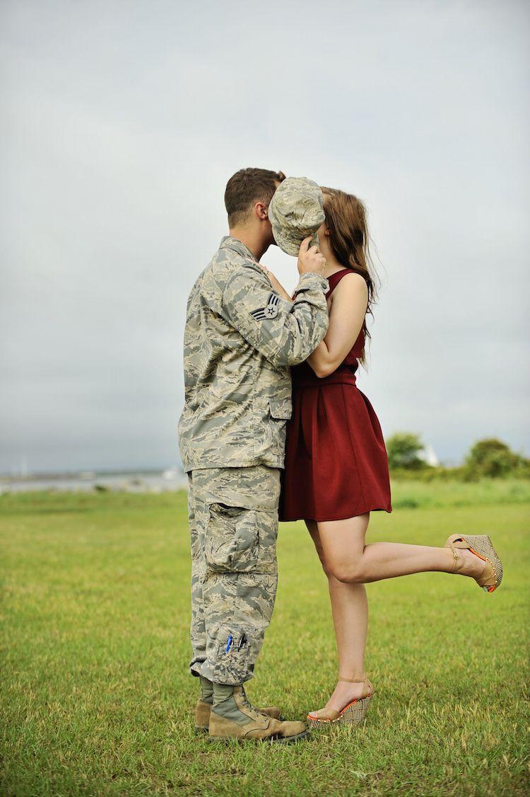 Patriotic Military Engagement | John + Megan - The Pink Bride