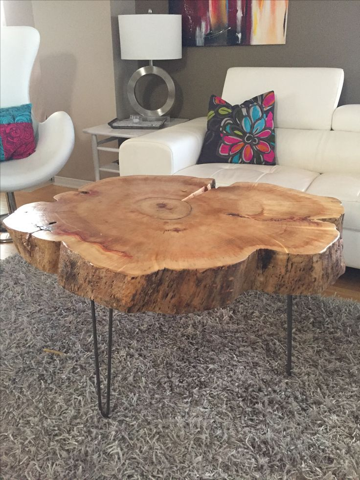 Tree Trunk Table with Metal Legs, Wood Coffee table with hairpin legs,  Coffee