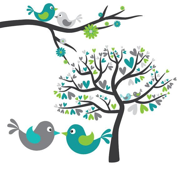 love birds in grey turquoise and lime green digital clip art rh pinterest ca love birds clipart black and white clip art two love birds