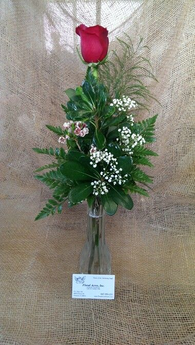 Single Red Rose Bud Vase With Babys Breath And Touch Of Waxflower