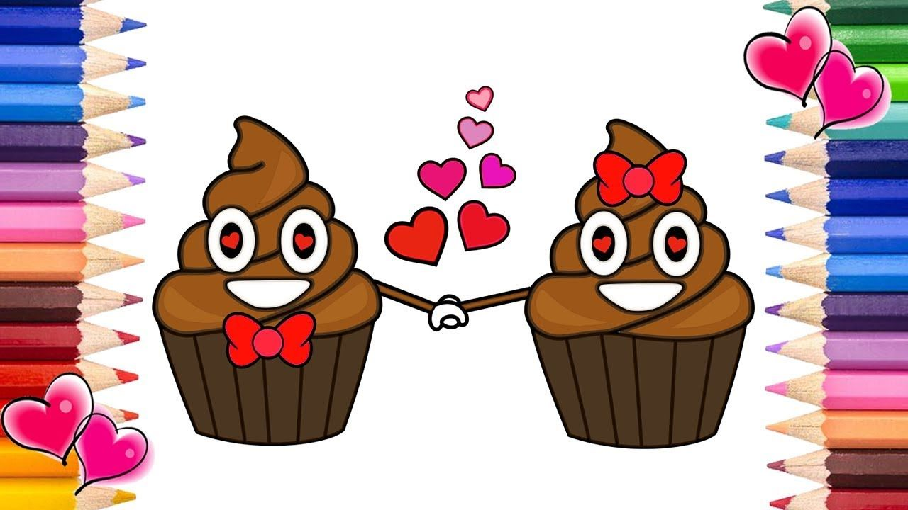 Poop Emoji Cupcakes In Love | Poop Emoji Coloring Book | Printable ...