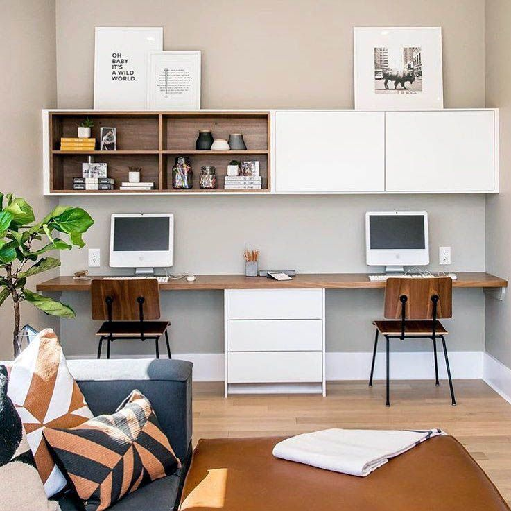 Stunning Low-budget Double Desk Design Just On Smart