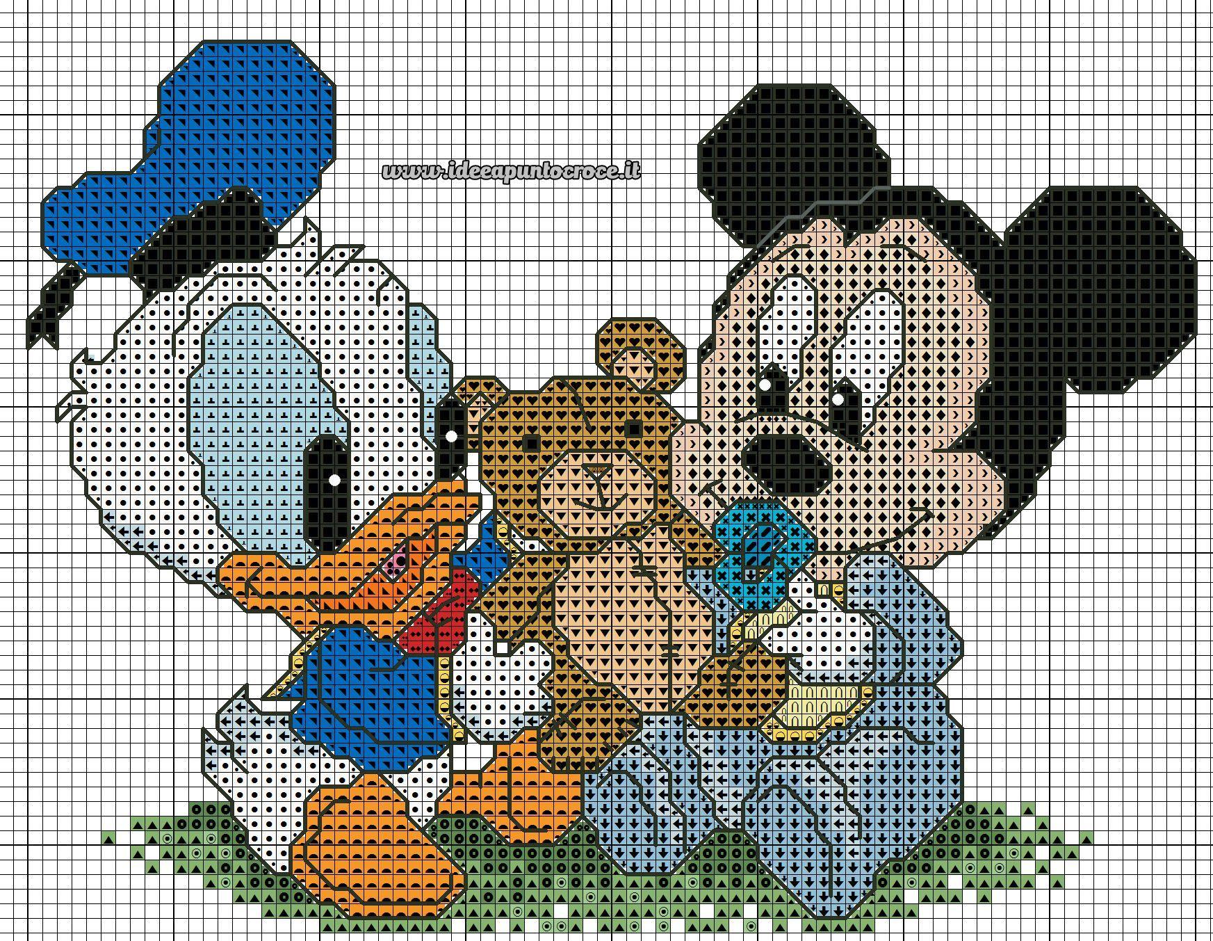 Schema Baby Paperino E Topolino Punto Croce Disney Classic
