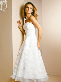 Vestidos de novia baratos strapless de encaje rebordear