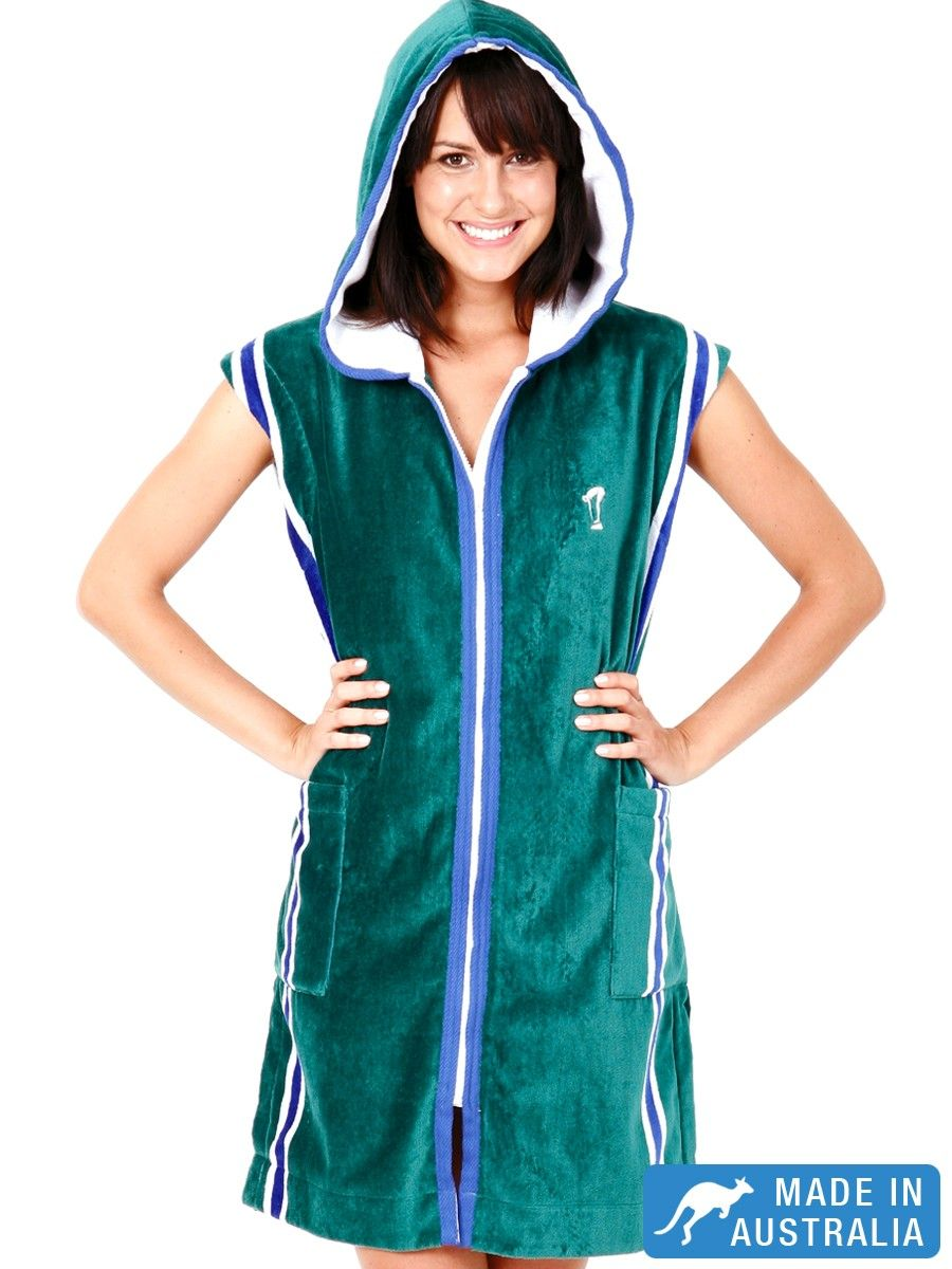 Easy slip on & off women's swim parka in fabulous racing green ...