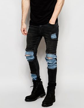 069a342534085e ASOS Super Skinny Jeans With Mega Rip And Repair In Washed Black ...