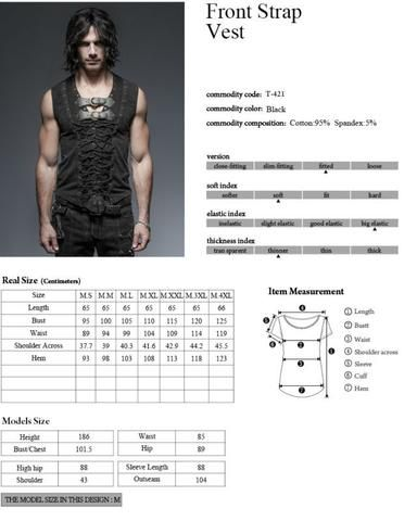 Men's Black Steampunk/Goth/Street Punk top/vest #casualgoth