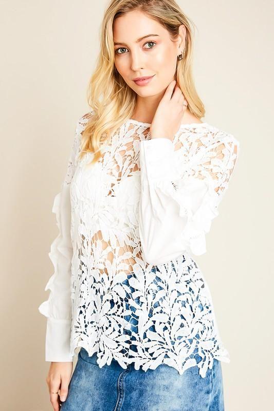 3f9f56ca Long Sleeve Sheer Lace Top | Women Tops | Pinterest | Lace, Sheer ...