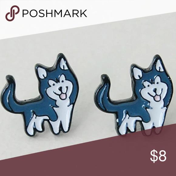 Cartoon Cute Husky Earrings Adorable Stud Fun To Wear At Any