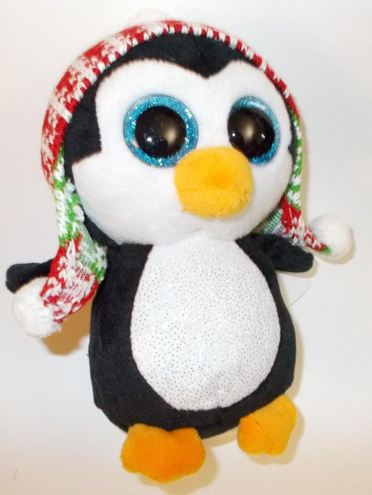 0b2fefda85f Ty Beanie Babies 37239 Boos Penelope the Christmas Penguin New Tags Red  Toque
