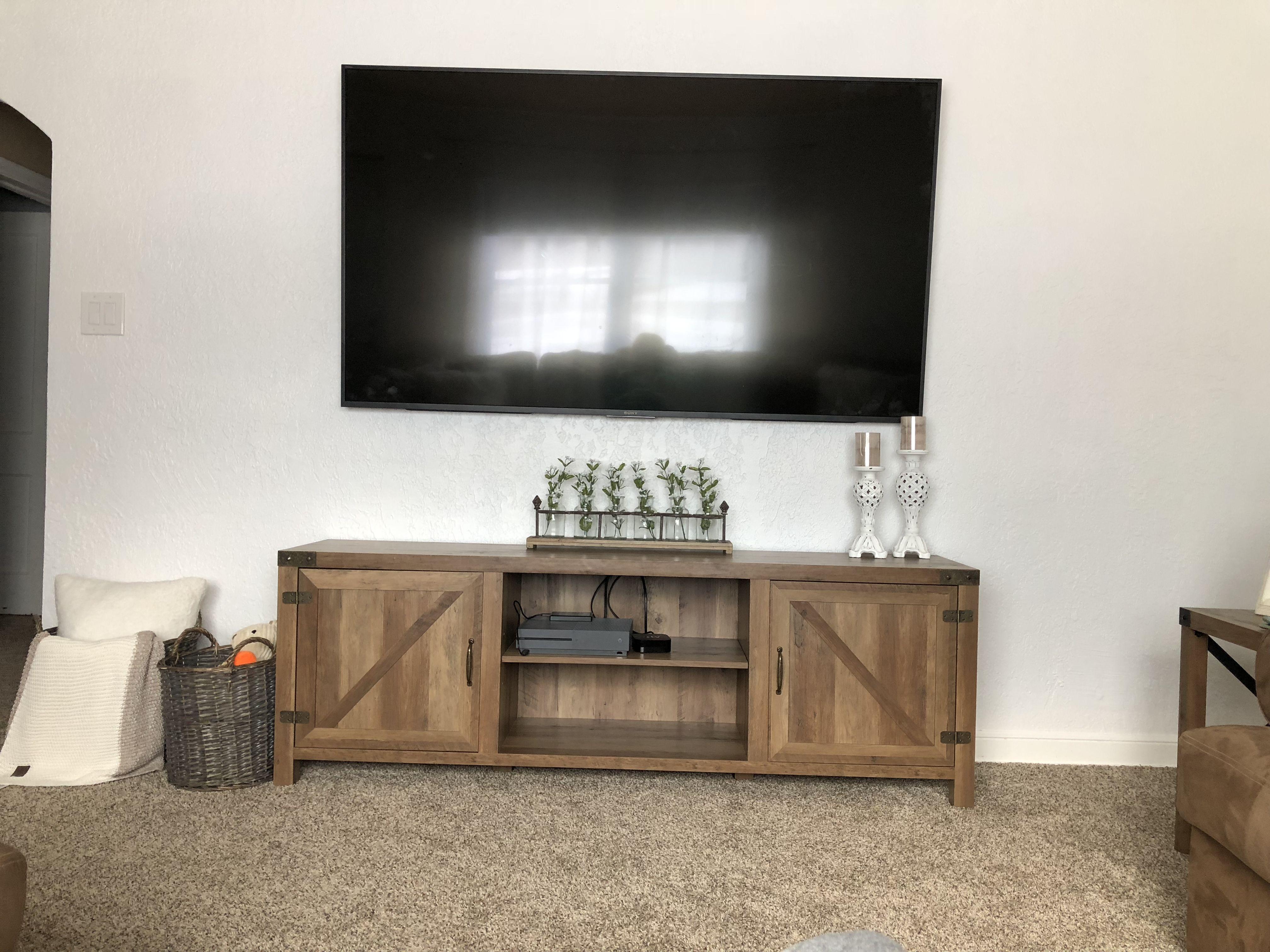 Farmhouse living room | Farm house living room, Tv stand ...