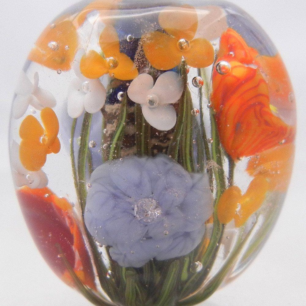 One Lampwork FLORAL FOCAL Bead Oranges Periwinkle White -831. $26.00, via Etsy.